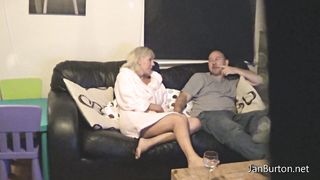 Stepson Tom strokes Jan after hubby is in bed