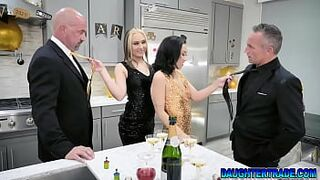 Stepdaddies swapping their stepdaughters for a hot new years switch fuck
