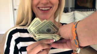 Blonde earns money on cock during lunch break