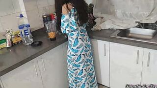 My Beautiful Stepdaughter in Blue Dress Cooking Is My Sex Slave When Her Mom Is Not At Home