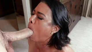 MYLF - Sexy Tattooed Milf Gags On Her Stepson's Thick Prick