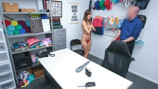 Hot Asian milf fucked in the security guards backroom