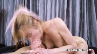 Sloppy oral massage on clients big dick by hot massuese