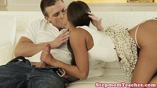Cougar stepmom facialized with cute stepteen
