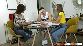 Virgin son deflorated by lesbian foster moms