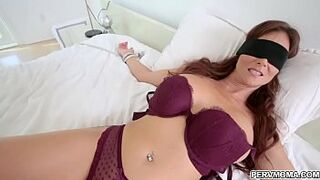 Stepmom blindfolded while sucking dick