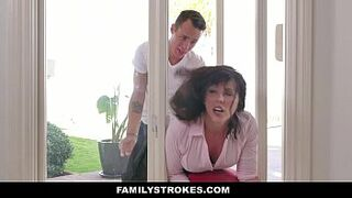 FamilyStrokes - MILF Stuck & Fucked By Both Stepsons