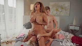 MOM Blonde MILF Kathy Anderson Valentines threesome with hot young Latina