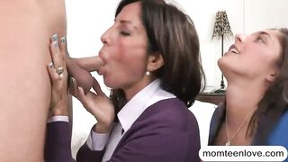 Stepmom gets her analyzed by young cock with stepdaughter