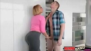 Busty stepmom Mellanie Monroe caught teen sucking cock s01