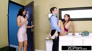 Naughty Stepmom/Teen FFM 3Some At The Office - Isis Love, Ariana Marie