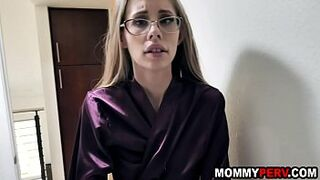 Step mom drags son into bedroom for sex