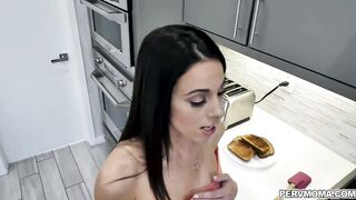 Playful MILF Eva Long is making breakfast but her naughty stepson keep on annoying him so she gave him a sloppy blowjob for breakfast.
