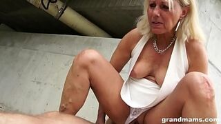 Hot blonde old cougar gets lucky with a young hard cock