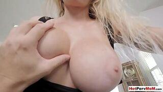 Busty cock addict MILF stepmom blows her bored stepson