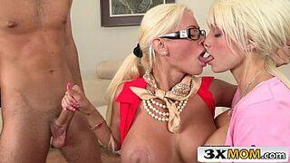 Blonde Mommy Fucks Stepdaughter and Her Boyfriend - Rikki Sixx, Nikita Von James