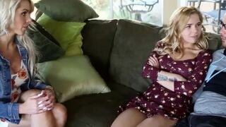 Hot Milf Mom Teaches Daughter How To Fuck Her Stepbrother