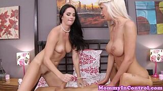 Stepmoms threeway fun with busty stepdaughter