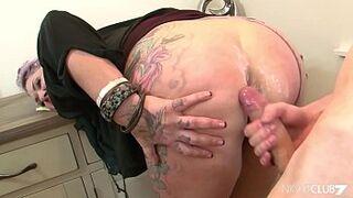 Tattooed stepmom fucks a younger guy