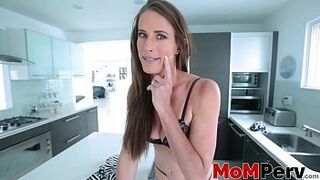 Yummy stepmom catches pervy young guy and strokes his cock